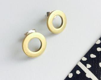 Circular Brass and Silver Stud Earrings, Modern Studs, Minimalist Studs, Chunky Circle Studs, Modern Earrings, Modern Studs