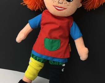 Pippi Longstocking Plush Doll  Stuffed Animal Collectable Rare CLEAN