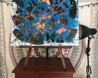 Broken Vinyl on Canvas w/ Splatter Paint