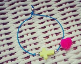 cross bracelet - pompon bracelet - neon bracelet - friendship bracelet - jewelry - elastic bracelet - charm bracelet - bracelet  neon colors