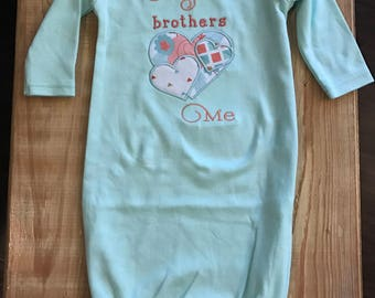 Newborn 0-3 Month Infant Gown My Brothers Love Heart Me