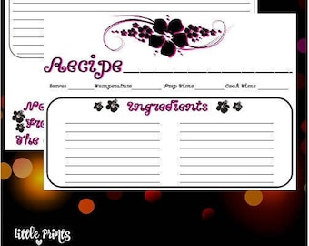 """Hibiscus flower 5x3.5"""" Printable Recipe Cards / Black and Pink Hibiscus Flower theme / High Quality Images / Inexpensive / Front and Back"""