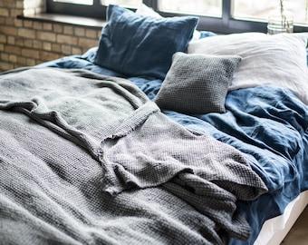 Linen Throw Blanket, stonewashed linen, waffle textured chunky blanket, linen blanket, linen bedspread, rustic, dark grey