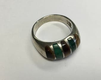 Vintage Sterling Silver Ring, Tigers Eye and Malachite