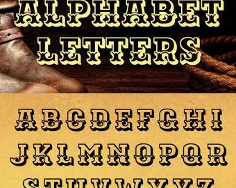 Western Outline Alphabet Letters SVG DXF Vector Cut Files Monogram Cuttables Vinyl Iron On Heat Press Transfer Silhouette Cricut JB-940