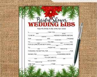 Wedding Libs Christmas Bridal Shower Game | Printable Wedding Mad Lib Game | Bachelorette Party | Hen Party Game | DIY Wedding Games XM77