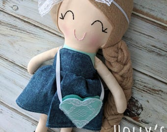 Handmade doll - Cloth doll - ready to ship doll- fabric doll - rag doll - gifts for girls -mermaid doll - dress up doll -big sister gift