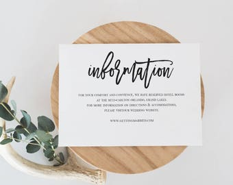 Wedding Information Card Template Wedding Details Card  Template Details Card Printable Details Card Modern Calligraphy Details Card #WP40