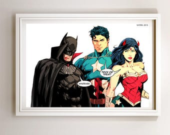 Superman Batman Wonder Woman Trinity Halloween Art Print Poster Super Hero Digital Art DC Comics
