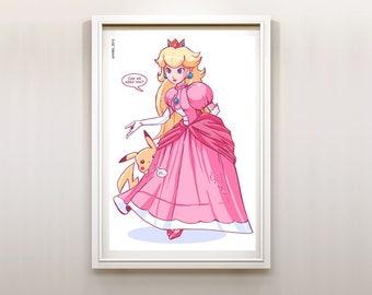 Princess Peach and Pikachu Super Mario Pokémon Nintendo Art Print Poster
