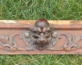 Antique French, antique furniture, French salvage, French Country, wood pediment, lion head, salvage wood trim, wood mouldings, salvage wood