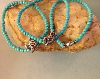 Three Silver plated sea turtle bracelets