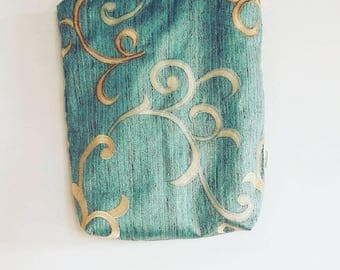 Gorgeous Handmade Teal and Gold Swirls Tote Bag