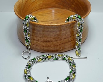 Green and Gold chainmaille bracelet - Australia Day!!!