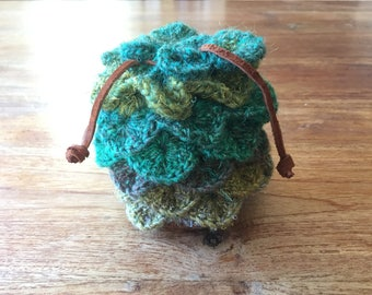 Crochet Dragon Scale Bag in Forest