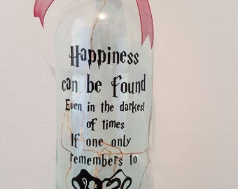 Happiness Can Be Found In The Darkest Of Time Quote LED Light Up Bottle
