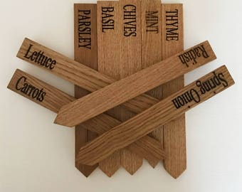 Plant, Herb and Vegetable Garden Markers made from Solid Oak