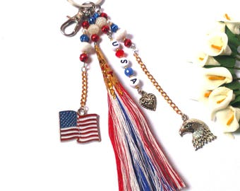 Keychain USA - Valentine Gift - Pendant American Flag - Charm Eagle - Blue/Red/White Tassel - Heart Charm- Letter Beads - Gift for Him / Her