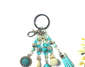 Keychain Blue White Silver - Pearl Pendants - Fashion Keyring - Blue Tassel - Valentine Gift - For Girls / Women - Colorful