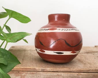 Vintage Hand painted Mexican pot - Bohemian Boho Eclectic Jungalow - Decor Style Home Mexico clay pottery tribal terracotta vase vessel #081