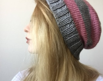 Pink and Grey Striped Slouchy Beanie