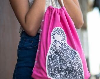 drawstring bag, drawstring backpack, pink bag, canvas drawstring bag, fabric drawstring bag, canvas backpack, babushka, gym bag