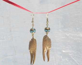 Gold Crawfish Claw Earrings with Blue Bead