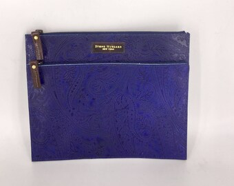 PAISLEY EMBOSSED LEATHER clutch, midnight blue leather clutch, leather Murse bag,