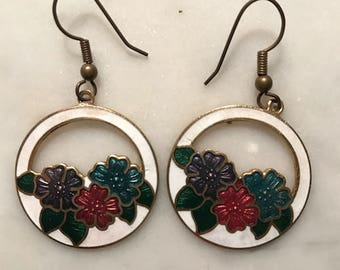Vintage Cloisonné Floral Cut Out Dangle Drop Earrings