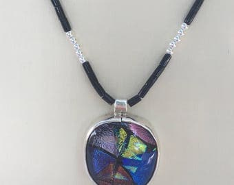 Sterling Silver Dichroic Fused Glass Pendant Beaded Necklace & Birthday Card
