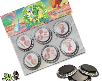 Plumbus Magnets   Rick and Morty Magnets   Bottle Cap Magnets   Party Favors   Gift