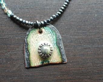 Enameled Pendant, with beaded necklace
