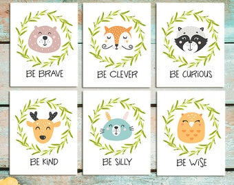 Woodland Animal Nursery Decor Fox Deer Raccoon Owl Rabit Bear Woodland creatures Be brave Be kind Be curious Be clever Be wise Wall art