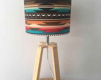 Aztec Native American Fabric Drum Lampshade 20cm Diameter