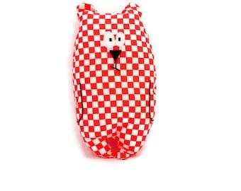 "Plush bear ""Jean-Jacques"" cotton and felt / neon Orange plaid fabric / birth gift / kids room Decoration / funny plush"