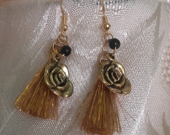 Earrings pink tassels and Golden