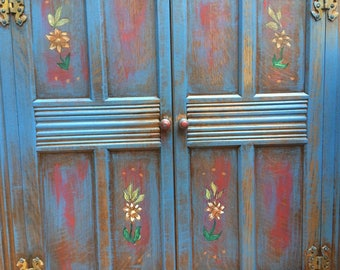 Vintage blue bookcase, corner cabinet folk art designed bookshelf with hand stencil art work.  Handpainted.  Handmade