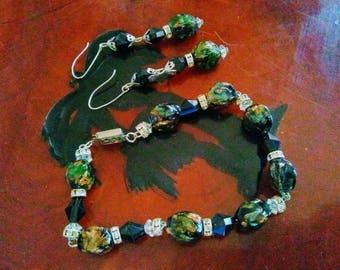 Glass stone Onyx Bracelet and Earrings