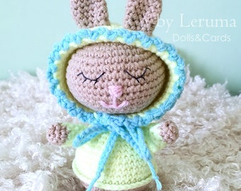 Crochet baby bunny, Amigurumi baby rabbit, Sleepy bunny toy, Plush rabbit