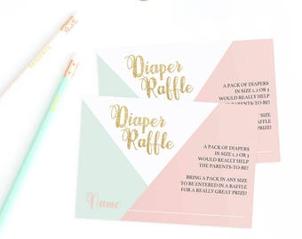 Baby Shower Diaper Raffle Cards Diaper Raffle Ticket Printable Baby Shower  Diaper Invitation Diaper Raffle Printable