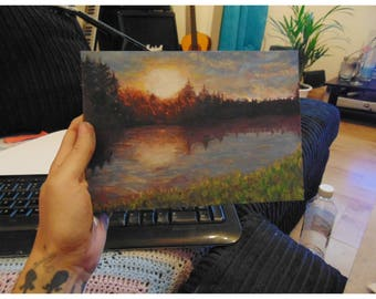 oil painting . summer evening by lake .