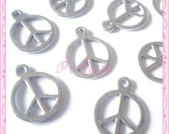 Set of 15 large REF041 silver Peace charms