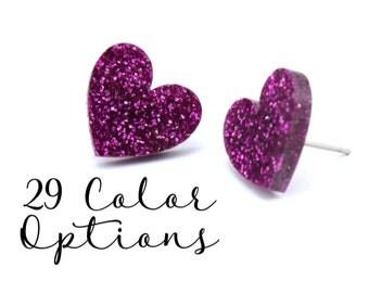 """1 Pair Blank Heart Post Earrings, 12mm 1/2"""" 16mm 3/4"""" Glitter, Pearl, Mirror, Monogram Blank, Blank Acrylic Earrings, Acrylic Earring Blanks"""