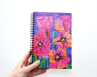 Blank journal White pen Notebook sketchbook  Blank writing journal Oil original print Pink poppies Notebook black paper Custom sketchbook