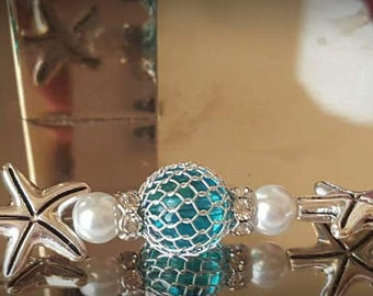 Seahorse Pearl and Turquoise Bracelet w/matching Earrings