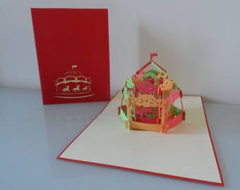 Merry go Round Pop up Card Birthday- Children-Get Well-Blank (sku067)