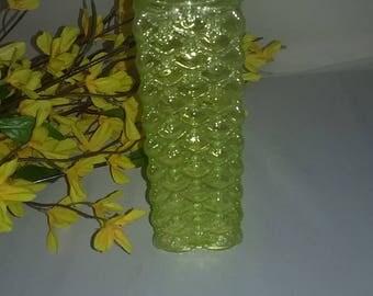 Vintage ,square , bubble vase, Yellow Bubble vase,center piece