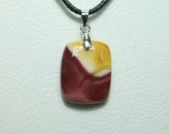Mookaite Pendant With Waz Cotton Cord Natural Stone Pendant ( 21 x 17 )