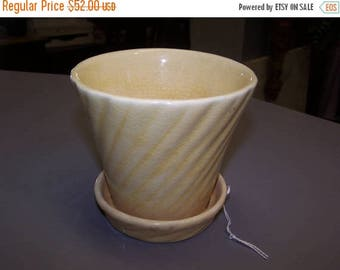 ON SALE Bauer, Yellow, Sparkle Flower Pot, with Drip Dish