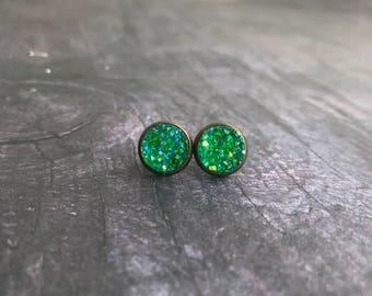 Christmas Green Druzy Earrings, Titanium Druzy, Druzy Studs, Druzy Set, Pick two